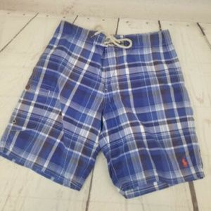 Polo Ralph Lauren Sz 30 blue plaid swinwear shorts